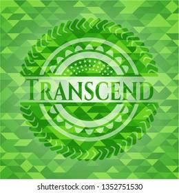 Transcend realistic green emblem. Mosaic background