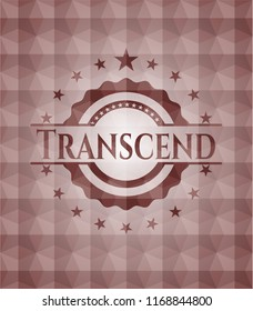 Transcend red emblem with geometric background. Seamless.