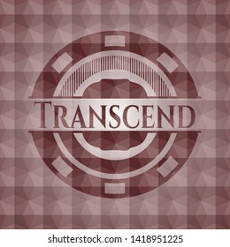 Transcend red seamless emblem or badge with abstract geometric polygonal pattern background.