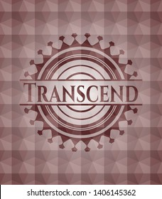 Transcend red seamless emblem with geometric pattern background.