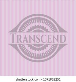 Transcend vintage pink emblem. Vector Illustration. Detailed.