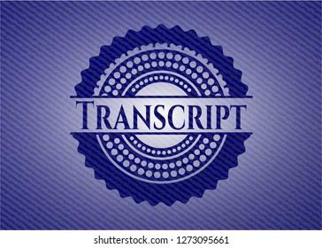 Transcript emblem with denim texture