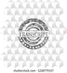 Transcript grey badge with geometric cube white background