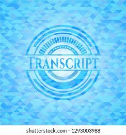 Transcript sky blue mosaic emblem