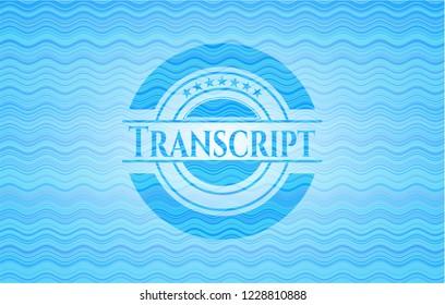 Transcript water style badge.
