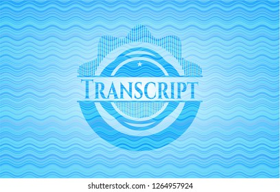 Transcript water wave representation emblem background.