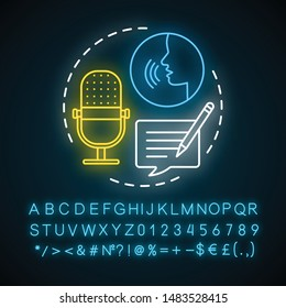 Transcription neon light concept icon. Audio files conversion into text format idea. Foreign language application. Glowing sign with alphabet, numbers and symbols. Vector isolated illustration