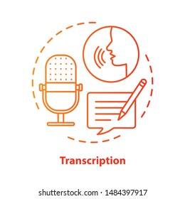Transcription red concept icon. Audio files conversion into text format idea thin line illustration. Representation of language in written form. Vector isolated outline drawing. Editable stroke