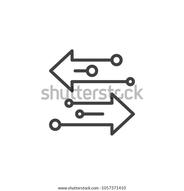 Transfer arrows outline icon. linear style sign for mobile concept and web design. Left right arrows simple line vector icon. Symbol, logo illustration. Pixel perfect vector graphics