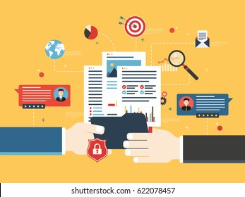Transfer of confidential documents between businessmen, with reports and analysis of data. Concept of private data sharing and secret business investments. Flat vector illustration.