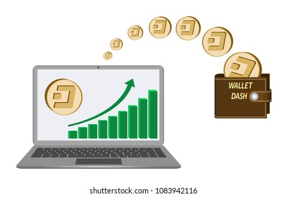 transfer dash coins from laptop in the wallet on a white background,growth diagram with coin of dash on laptop screen,transfer crypto currency in the wallet,brown dash wallet design concept