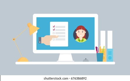 Transfer of document, to-do list from. Vector illustration business concept design.