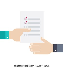 Transfer of document, to-do list from hand to hand.  Vector illustration business concept design.