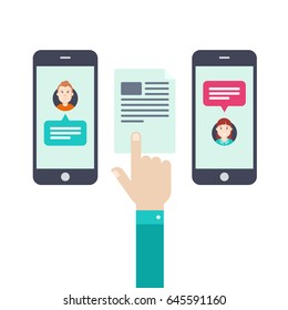 Transfer of documents online. The hand holds a document between the phone.  Flat design vector illustration.