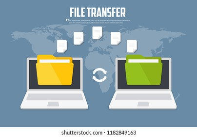 Transfer files. Backup files. Communication between two computers. Vector flat icon