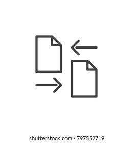 Transfer files line icon, outline vector sign, linear style pictogram isolated on white. Data exchange symbol, logo illustration. Editable stroke