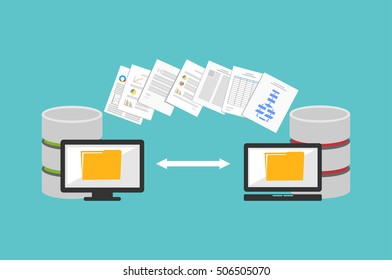 Transfer files. Sharing files. Backup files. Migration concept. Communication between two computers.