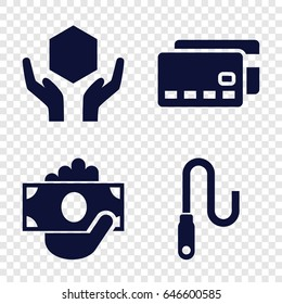 Transfer icons set. set of 4 transfer filled icons such as handle with care, wire, credit card