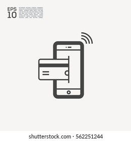 transfer isolated minimal icon. NFC payment graph line vector icon for websites and mobile minimalistic flat design.