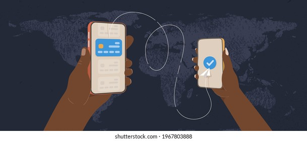 Transfer money by online internet banking all around the world flat vector illustration. African hands holding phones and sending money by credit card on world map background