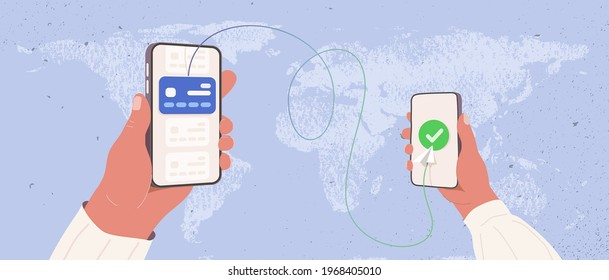 Transfer money by online internet banking all around the world flat vector illustration. Hands holding phones and sending and getting money by credit card on world map background