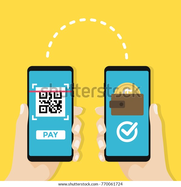Transfer Money By Qr Code Mobile Stock Vector (Royalty Free