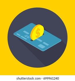 Transfer money to a card. Icon flat style vector illustration.