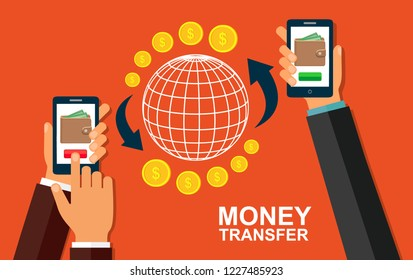 Transfer money using a mobile device. Vector stock illustration.