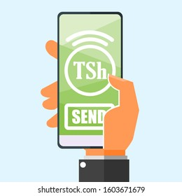 Transfer Money via Smartphone using Tanzanian Shilling money online mobile banking vector illustration flat design. Payment and finance element.  Can be used for web and mobile, infographic & print.