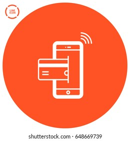 transfer NFC payment line vector icon