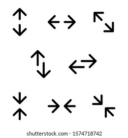 Transfer, resize, and collide arrow icons, in various directions