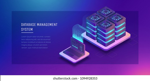Transfer of user data to the server. Data flow. Data storage. Server. Digital space. Data center. Big Date. Conceptual illustration. Isometric vector illustration. 3D