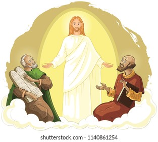 Transfiguration of Jesus Christ with Elijah and Moses. Vector cartoon christian illustration. Also available coloring book version