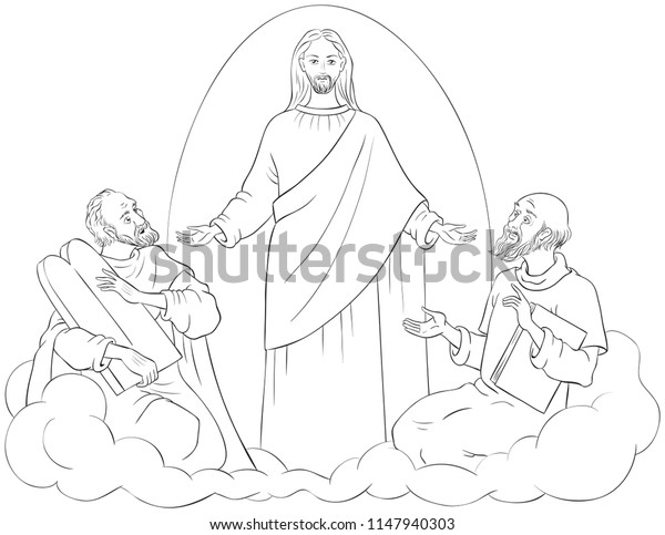 Transfiguration Jesus Christ Elijah Moses Coloring | Royalty ...
