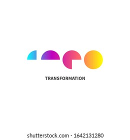 Transform icon, gradient abstract transformation logo, coaching symbol, transformation vector concept
