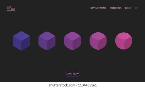 Transformation and evolution of a square into a circle. Isometric background composition for a site. Geometric background. Eps10 vector.