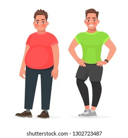 Transformation of the male body. Slimming and dieting. Before and after playing sports.Fat and sporty man. Concept of Healthy proper nutrition. Vector illustration in cartoon style