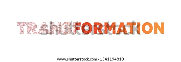 Transformation Text Typography Red Orange Color Stock Vector