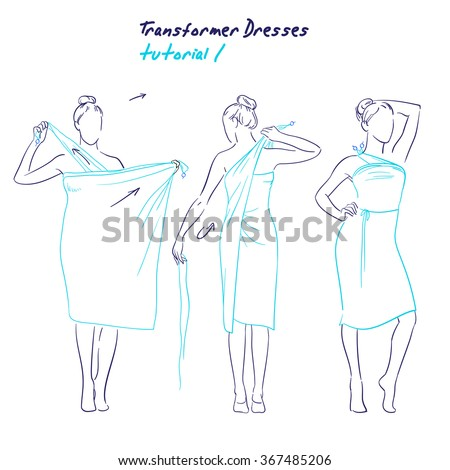 Transformer Dresses Women Clothes Accessories Hand Stock Vector ...