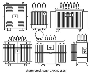 Transformer vector installation on white background . Isolated outline set icon energy substation. Vector outline set icon transformer.