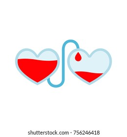 Transfusion of blood flat icon