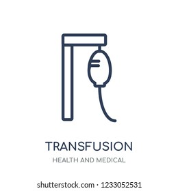 Transfusion icon. Transfusion linear symbol design from Health and Medical collection. Simple outline element vector illustration on white background