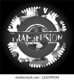 Transfusion on grey camouflaged pattern