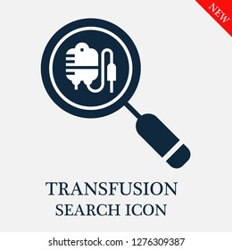 Transfusion search icon. Editable Transfusion search icon for web or mobile.