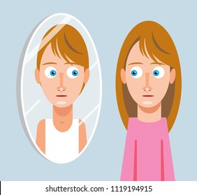 Transgender girl looking in mirror and seeing boy reflected