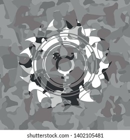 transgender icon inside grey camo texture