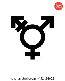 Transgender male with female Icon Flat Style Isolated Vector Illustration