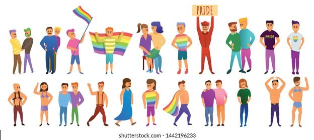 Transgender people icons set. Cartoon set of transgender people vector icons for web design