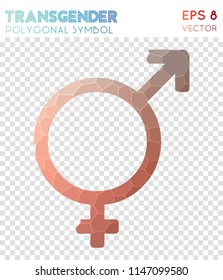 Transgender polygonal symbol, bewitching mosaic style symbol. Authentic low poly style, modern design.