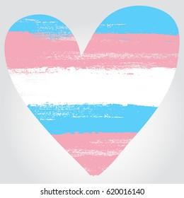 Transgender pride flag in a form of heart. Brush stroke style. Vector EPS 10